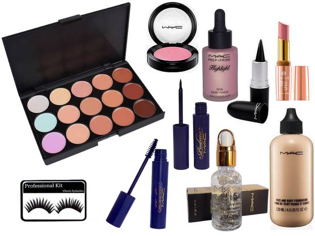 1c8fd75aa7 professional kit Eyelashes, Lakme 9 To 5 Lipstick, 15 Shade Concealer  Palette, Padma