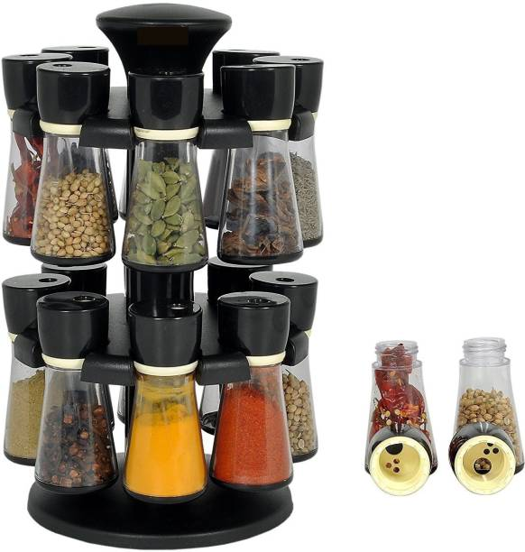 PALAK Black Premium Multipurpose Revolving Plastic Spice Rack / Condiment Set/Salt & Pepper Set - Plastic Kitchenware Masala Box/ Spice Set