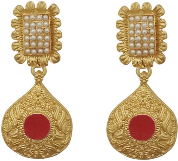 6b0d81b7d JewelMaze Maroon Pota Stone Gold Plated Pearl Dangler Earrings-1313110B  Alloy Dangle Earring