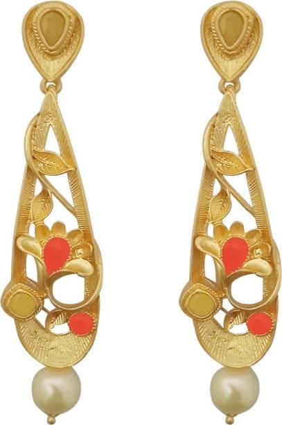 76d6a724e JewelMaze Orange Austrian Stone Pearl Drop Gold Plated Dangler Earrings-1313115D  Alloy Dangle Earring