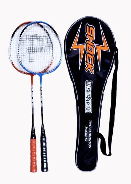 291918c1168 Pioneer Shock Set of 2 rackets with FullCover Multicolor Strung Badminton  Racquet