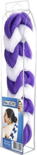 PANACHE Shower Sponge 9 Knots Rope , Purple & White, ( pack of 1 )