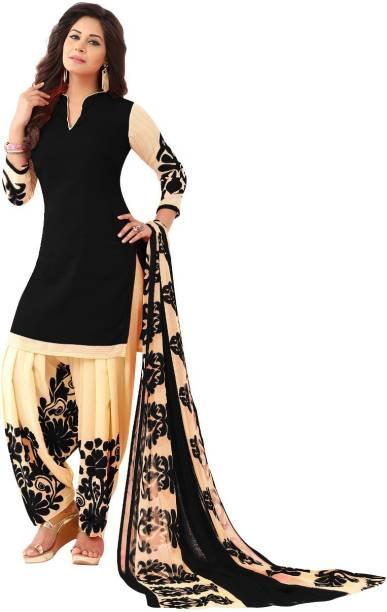 ab23e12cdc FabTag - Sharvi Crepe Printed Salwar Suit Dupatta Material, Kurta &  Churidar Material
