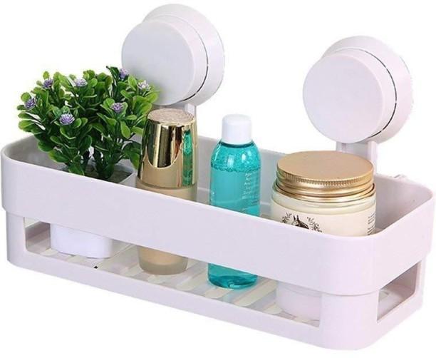 Mantavya Bathroom Shelves Suction Shelf Plastic Wall Shelf