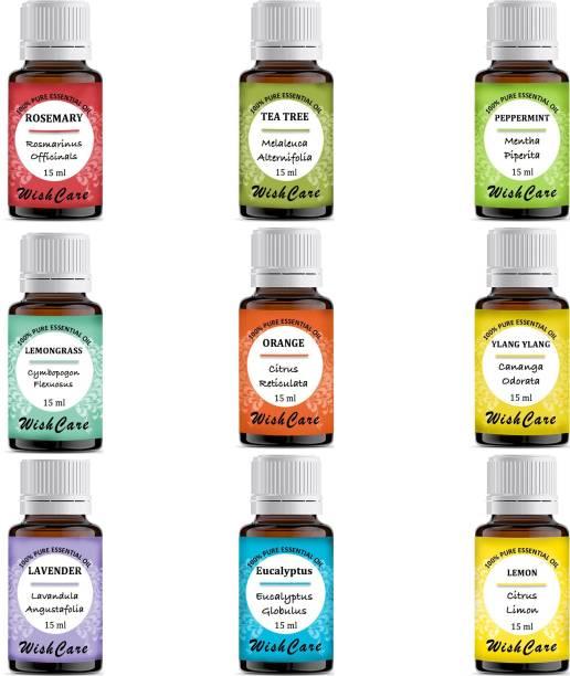 WishCare Pure Essential Oil Set| TeaTree, Lavender, Peppermint, Eucalyptus, Rosemary, Orange, Lemon, Lemongrass & YlangYlang, 15 Ml Each