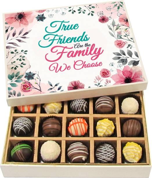 Chocholik Friendship Gift - True Friends Are the Family We Choose - Dark, Milk, White Chocolate - 20pc Truffles