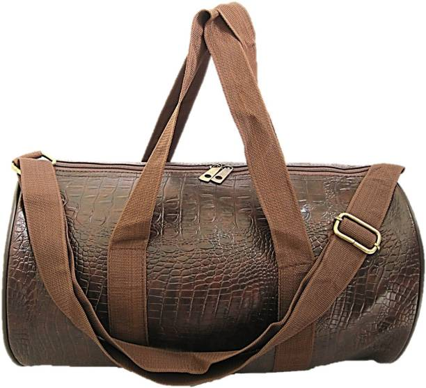 72266d9338 Muccasacra Popular Crocodile Skin Finish Coffee Brown Duffel Gym Bag with 3  compartments Gym Bag