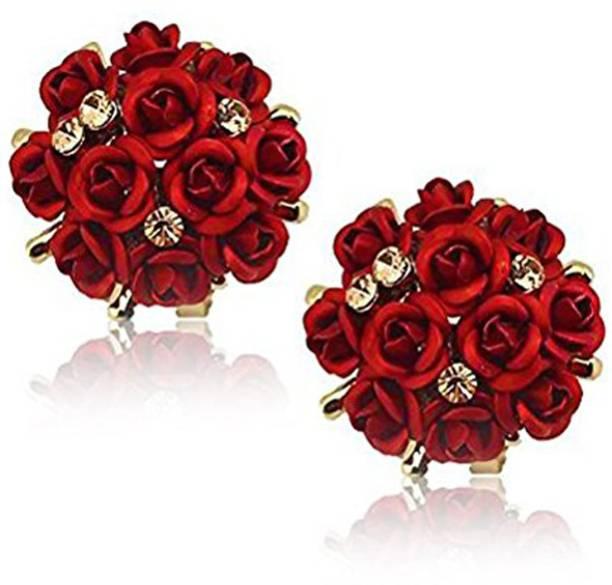 8dbcda6f7 Karatcart Karatcart GoldPlated Red Flower Shape Resin Fancy Party Wear Stud  Earrings For Women Crystal Alloy