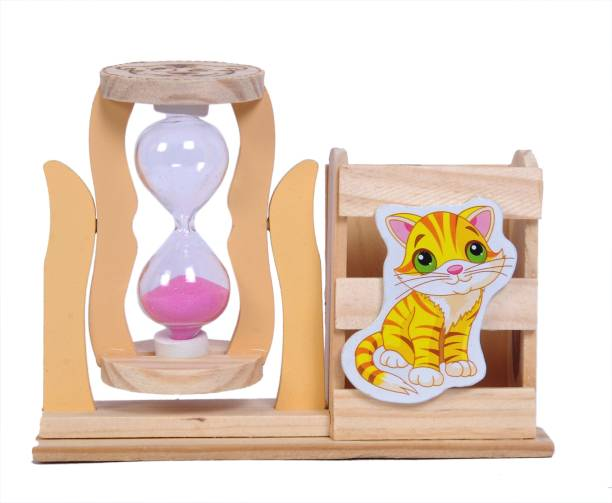 Sigaram 1 Compartments Wood, Glass Pen Stand