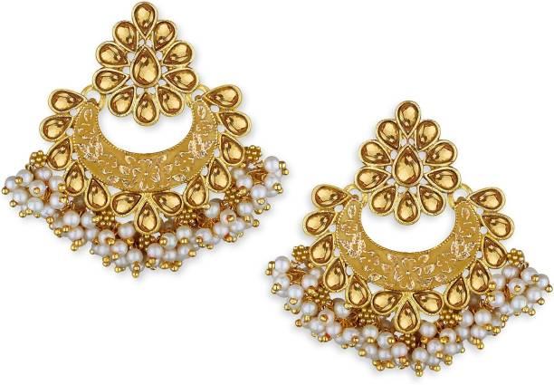 20d1ade84 Spargz Fine Enamel Gold Plated Ad Chandbali Diamond Alloy Chandbali Earring
