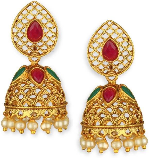 Latkan Pearl Gold Plated Ruby Jhumki Br Earring