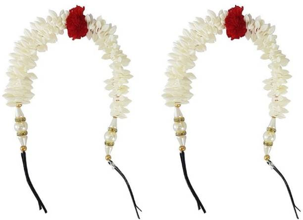 NERR White Gajra(Veni) Accessories Hair Accessory Set (White) Hair Accessory Set (White) Hair Band (White) Bun Clip