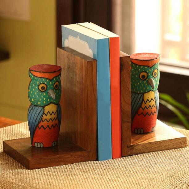 ExclusiveLane 'Owly-guards' Sheesham Wood Book End Newspaper Organiser Cum Table Top Magazine Holder