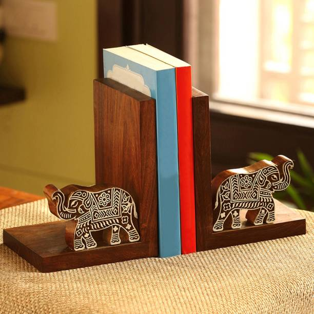 ExclusiveLane 'Trunk-ups' Wooden Carved Book End Newspaper Stand Cum Table Top Magazine Holder