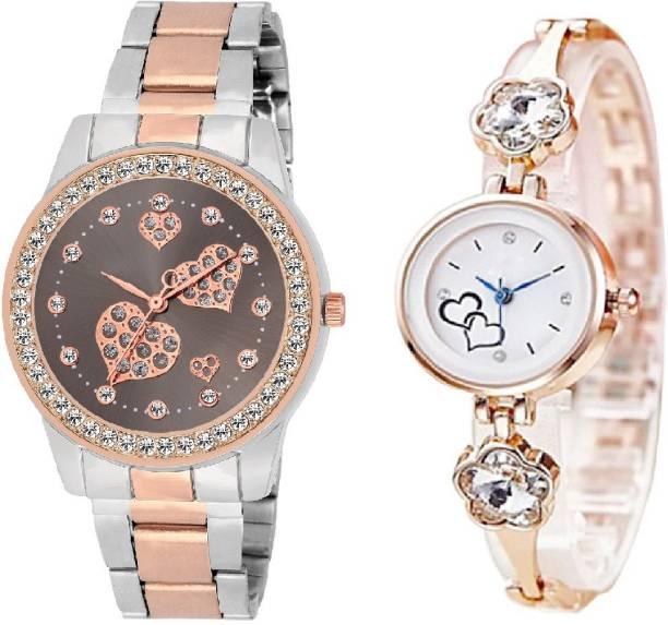 f01f9e043 SOOMS B-0754 Jasmine Silver Blossom Designer White Dial Rosegold Strap Watch  With Dual Tone