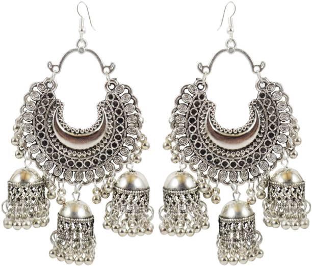 e5accf628 Slamay Fashion Slamay Fashion German Silver Traditional Alloy Fish Hook  Antique Gold Tripple Jhumki Earring for