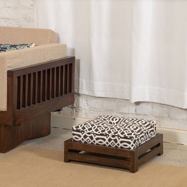 The Jaipur Living Solid Wood Standard Ottoman