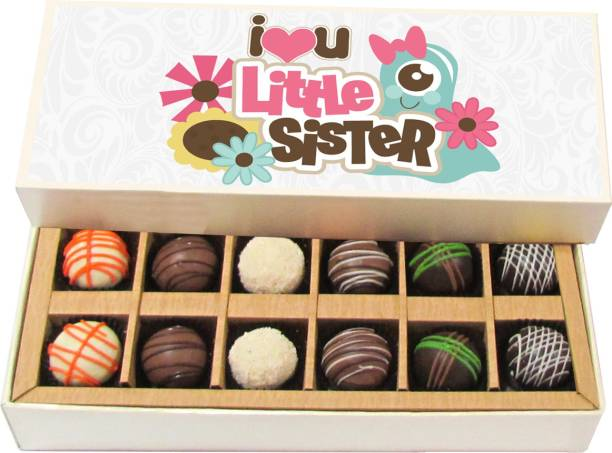 Chocholik Rakshabandhan Gift Box - I Love You Little Sister - Dark, Milk, White Chocolate Truffles - 12pc Truffles