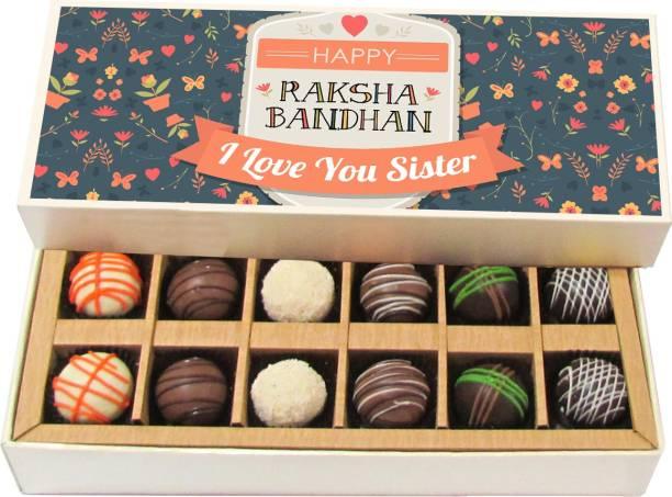 Chocholik Rakhi Gift Box - Happy Raksha Bandhan Sister - Dark, Milk, White Chocolate Truffles - 12pc Truffles