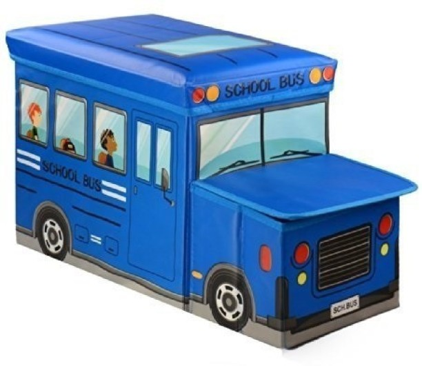 Inditradition Kids School Bus/Sitting Stool/Storage Box/Playing Toy   Blue  Storage