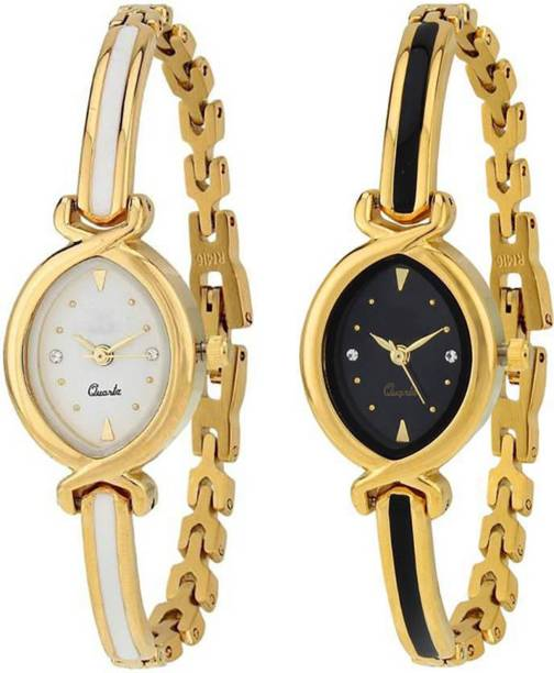 ad78fa80824 Zebra Combo Pack 2 Designer Stylish White-Black Dial Golden Bangle Watch  For Girls