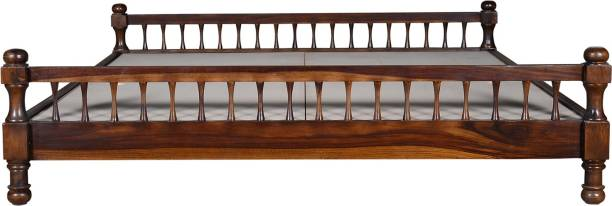 Saffron Art and Craft Sheesham Wood Solid Wood King Bed