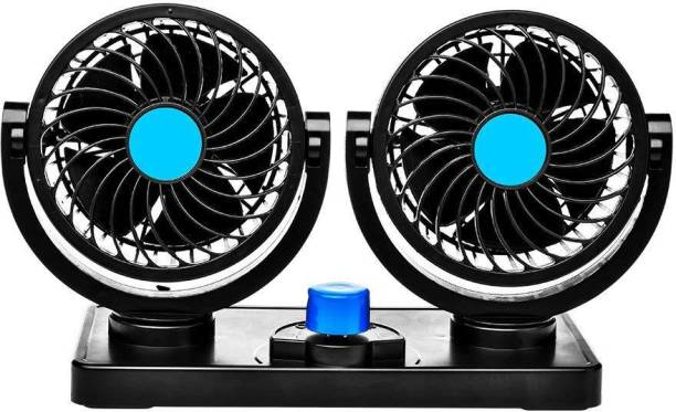 TREST Car Fan 12V 360 Degree Rotatable Dual Head 2 Speed Quiet Strong Dashboard Auto Cooling Air Fan for All Auto Vehicles Car Interior Fan
