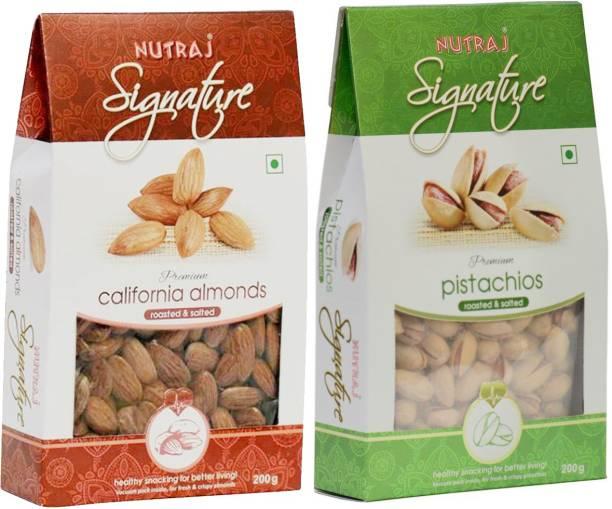Nutraj Roasted Almonds & Pistachios Combo Pack of 2 (200 gm Each) Pistachios, Almonds