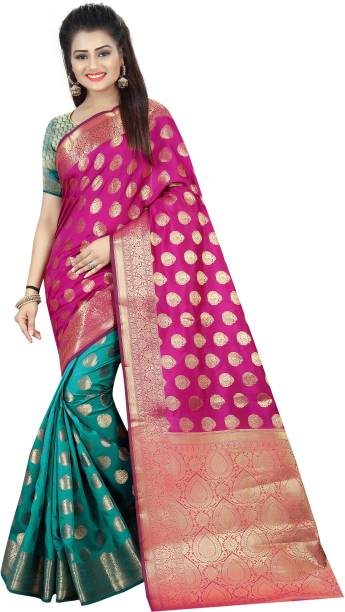 266dbf5b2 Hinayat Fashion Printed Banarasi Cotton Silk Saree