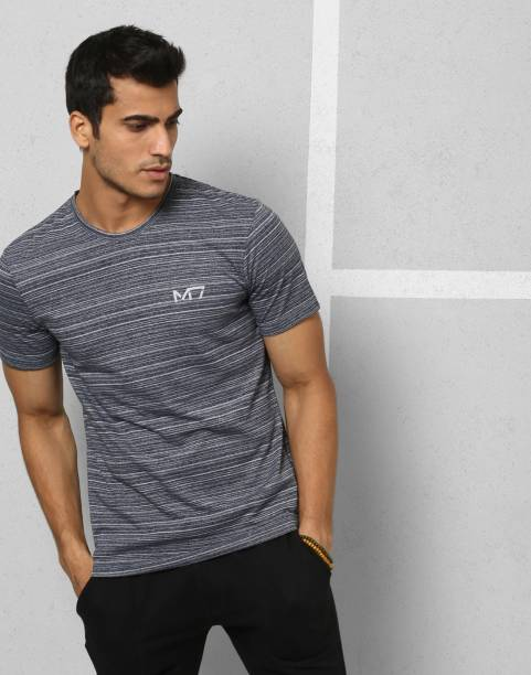 METRONAUT Athleisure Striped Men Boat Neck Grey T-Shirt
