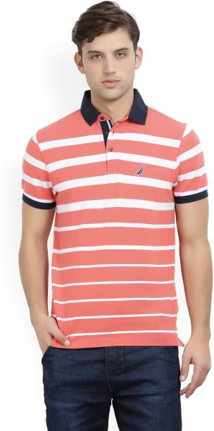 4afe58fe Nautica Striped Men Polo Neck White, Pink T-Shirt