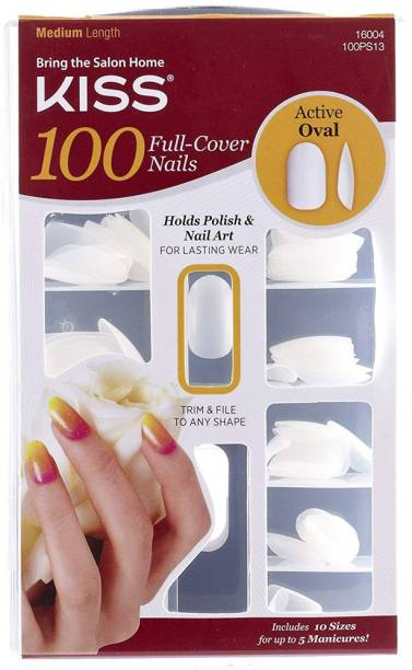 Kiss Products 100 Full Cover Nails, Active Oval, 0.24 Pound White