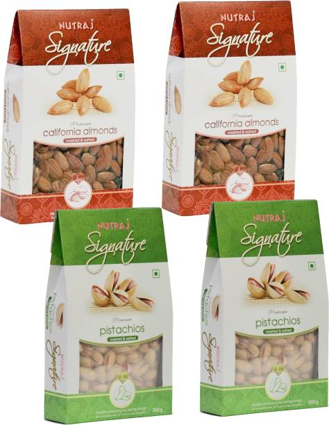 Nutraj Roasted Almonds & Pistachios Combo Pack of 4 (200 Gm Each) Pistachios, Almonds