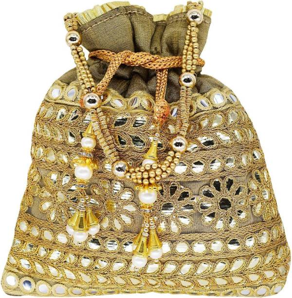 dff5373eec9 Bagaholics Ethnic Clutch Silk Potli Batwa Pouch Bag with Metal Bead and  Mirror work Gift For