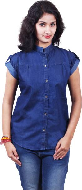 94f636f90e9696 S.N.A ENTERPRISES Casual Half Sleeve Solid Women s Dark Blue Top