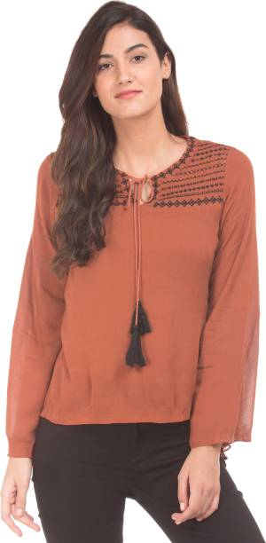9c84f7dfbb94b4 Brown Tops - Buy Brown Tops Online at Best Prices In India ...