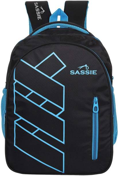 577ded6b94 Sassie Black Blue Stylish School Bag   Laptop Bag with 3 Large Compartments  (SSN-