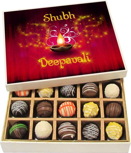 Chocholik Diwali Sweets - Shubh Deepavali - Dark, Milk, White Chocolate Truffles - 20pc Truffles