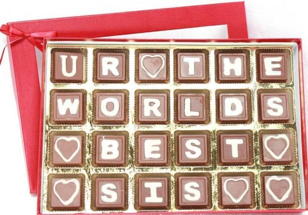 Zoroy Luxury Chocolate Rakshabandhan Box of message for sister chocolates Fudges