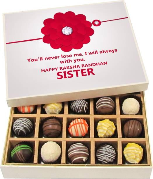 Chocholik Rakhi Gift Box - You'll never lose me, I will always with you. - Dark, Milk, White Chocolate Truffles - 20pc Truffles