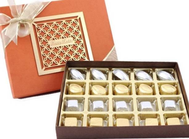 Zoroy Luxury Chocolate Rakshabandhan Luxury laser top box with 20 chocolates rakhi Fudges