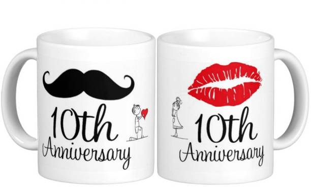 Exoctic Silver 10th Marriage Anniversary Ceramic Coffee Mug