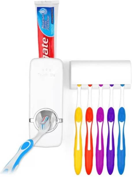 Shimon Hands Free Toothpaste Dispenser Automatic Squeezer And Holder Set Plastic Toothbrush
