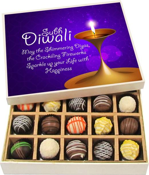 Chocholik Diwali Sweets - May The Shimmering Diyas, The Crackling Fireworks - Dark, Milk, White Chocolate Truffles - 20pc Truffles