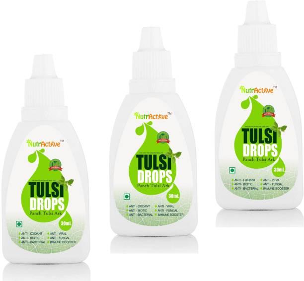 NutrActive Tulsi Drops (Panch Tulsi Ark) - 90ml | Natural Immunity Booster - Tulsi