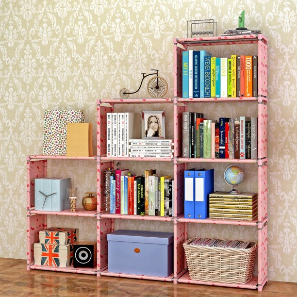 Wooden Bookcase 5-Shelf Storage Bookshelf Solid Wood Home Decor Cabinet Cherry