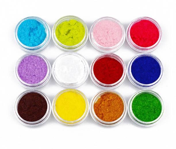 Imported 12 Colors Flocking Velvet Powder Glitter Pigment Set for Nail Art