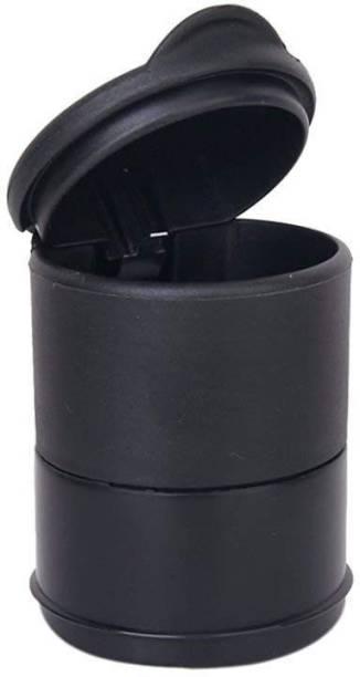 RHONNIUM ™ Travel Cigarette Ashtray Car Auto Portable Smokeless Cup Holder Cylinder With LED Light Lid Office - Metallic Black Plastic, PTFE (Non-stick), Aluminium Ashtray