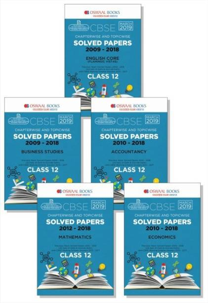 Oswaal CBSE Solved Papers Class 12 (Set of 5 Books) English Core, Accountancy, Business Studies, Mathematics & Economics (For March 2019 Exam)