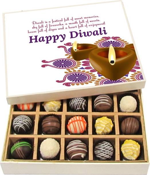 Chocholik Diwali Gifts -Diwali Is A Festival Full Of Sweet Memories, Sky Full Of Fireworks - Dark, Milk, White Chocolate Truffles - 20pc Truffles